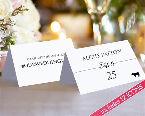 Sided Place Card Template by Hashtag Place Cards 183 Wedding Templates And Printables