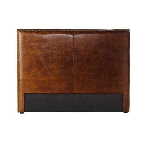 deco chambre bebe design tête de lit en cuir marron effet vieilli l 140 cm andrew