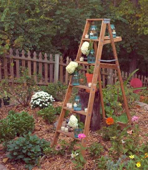 Decorating Ideas With Old Ladders by Old Wooden Ladder Garden Decorating Ideas Creative Ads