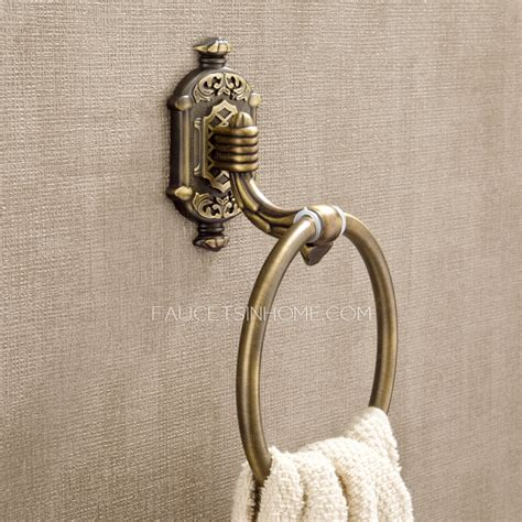 antique bronze brass wall mounted bathroom towel rings