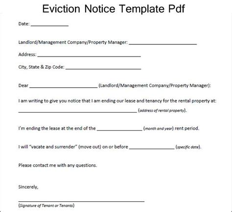 sample eviction notice template  excelaboutcom