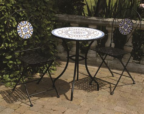 blue outdoor table and chairs 3 piece mosaic bistro garden furniture patio set round