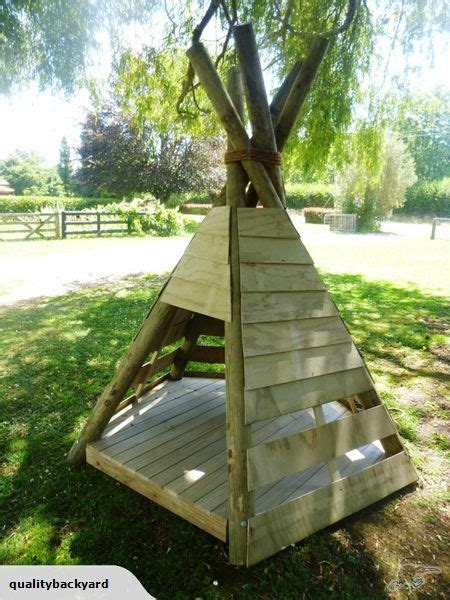 kids outdoor wooden teepee playhouse trade  kids