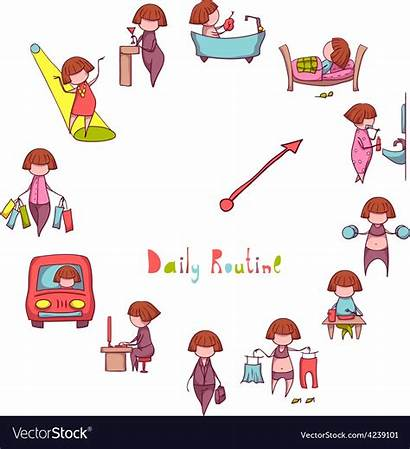 Routine Daily Funny Clipart Vector Routines Activities