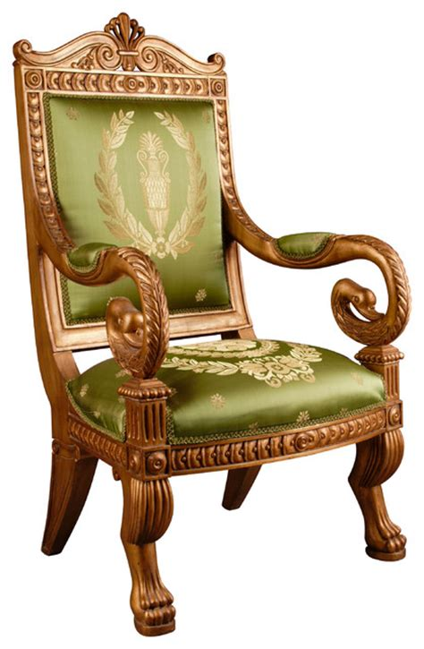 empire style carved swan s throne chair