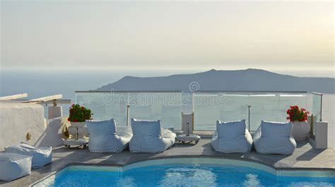 Balcony With Pool In Imerovigli Santorini Greece With