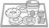 Coloring Donut Coffee Tray Cup Pages Donuts Wooden Yummy sketch template