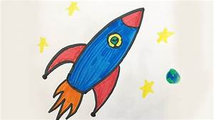 How to draw and color a Space Ship -for kids! - YouTube