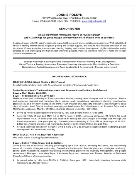resume exle retail buyer resume sle cv for