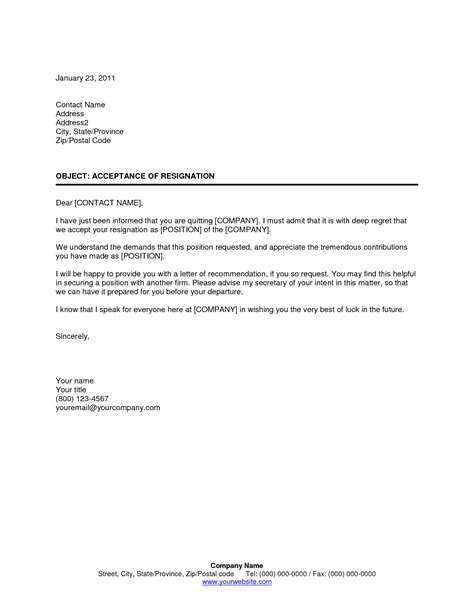 accept offer letter resignation letter accepting resignation letter from