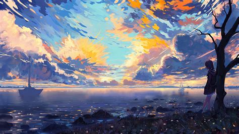 Anime Wallpaper Deviantart - wallpaper landscape digital coast sky anime