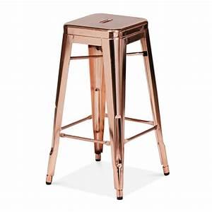 Tabouret De Bar Rose : tabouret industriel de style tolix en or rose 75cm cult furniture ~ Teatrodelosmanantiales.com Idées de Décoration