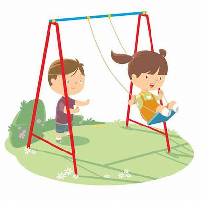 Swing Playing Children Vector Clip Porch Cartoons