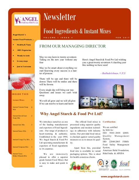 newsletter cuisine newsletter food ingredients instant mixes