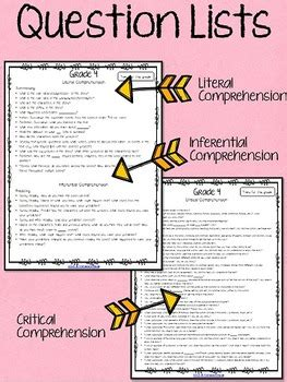 literal  inferential comprehension questions