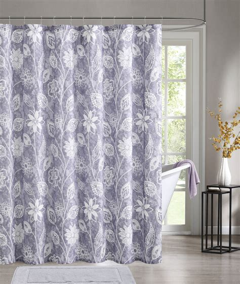 Shower Curtains - purple embossed fabric shower curtain white floral design