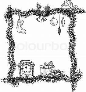 Sketch Christmas Frame  Vector Illustration  Eps10