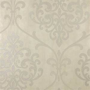 Kenneth James Ambrosia Taupe Glitter Damask Wallpaper