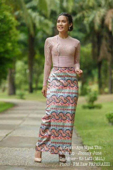 cute photo  myanmar traditional dress design fashion
