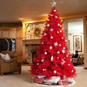 Christmas trees decorated in red | Pictures Reference
