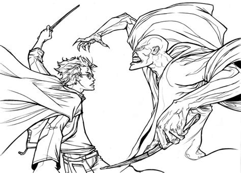 Harry Potter Versus Voldemort Coloring Page