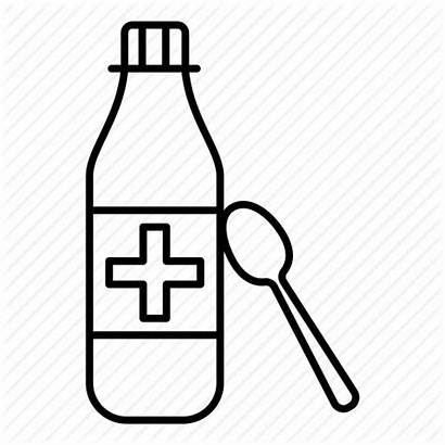 Medicine Syrup Bottle Cough Icon Hospital Spoon