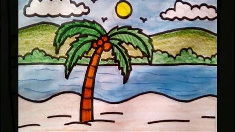 draw coconut tree beach scenery drawing  kids