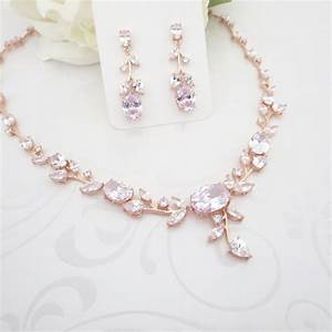 Wedding jewelry Set Rose Gold Bridal necklace set Rose Gold