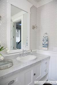 spring in the powder bathroom the sunny side up blog With molding around mirror bathroom