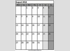 Printable August 2018 Calendar