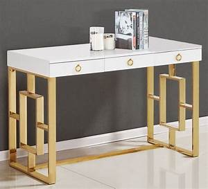 Pollie White Wood  Gold Plated Computer Desk By Best Master