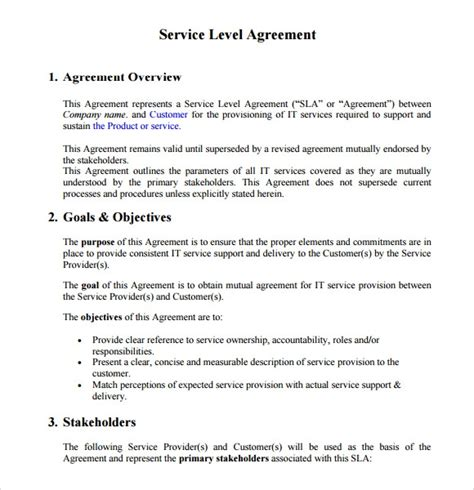 service level agreement   samples examples format