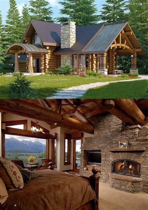 wood  stone house ideas house cabin homes home