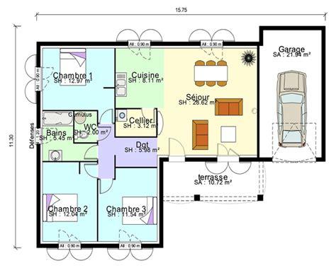 plan maison en l plain pied 3 chambres maison contemporaine plans maisons