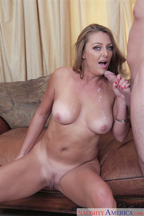 Sex Starved Mature Takes A Cum Blast On Her Tits After A