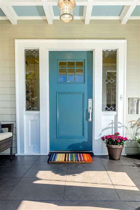 cottage style windows blue front door for a warm and house