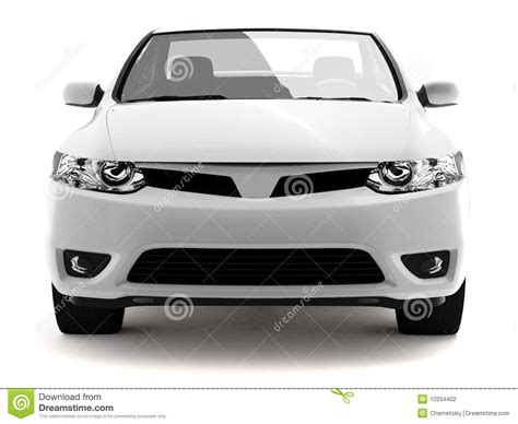 Compact White Car Front View Stock Photography