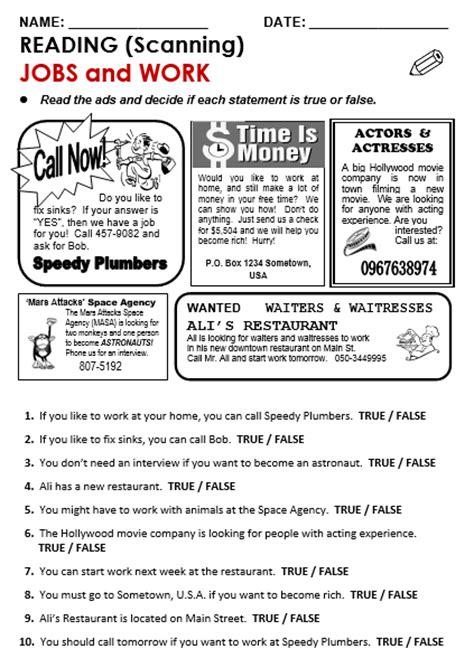 reading comprehension advertisement worksheets