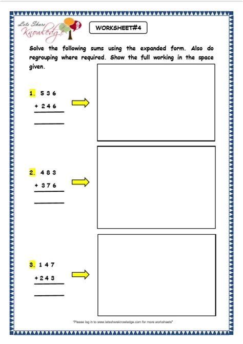 Expanded Form Addition And Subtraction Worksheets  Grade 4 Place Value Rounding Worksheets Free