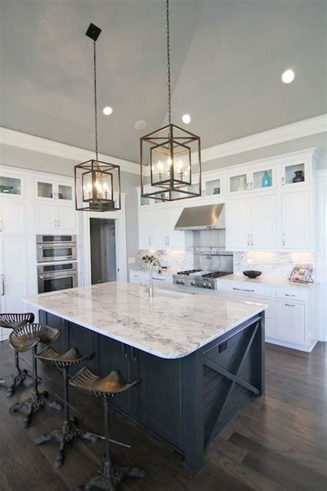 island in kitchen pictures white and navy kitchen features iron and glass cage 4821