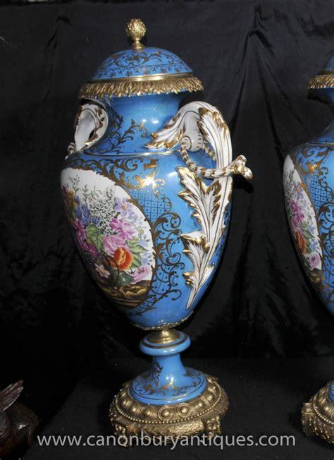 Large Floral Vases by Pair Large Sevres Floral Porcelain Vases Hora Urns