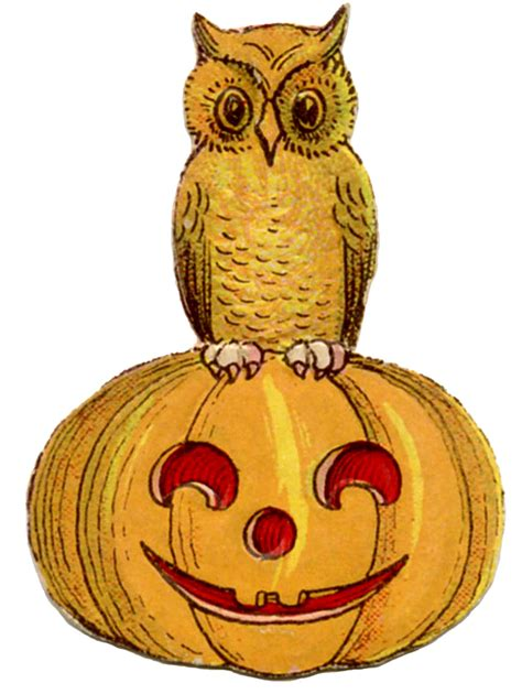 vintage halloween clip art cute owl  pumpkin