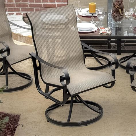 la salle sling patio swivel rocker dining chair modern