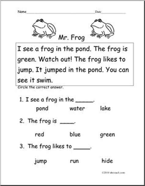 easy reading comprehension  frog   abcteach