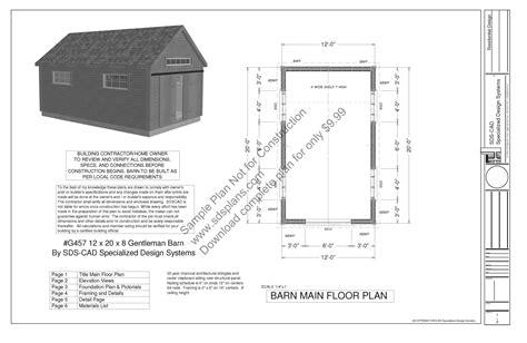 Gentleman's Barn Plans Blueprints