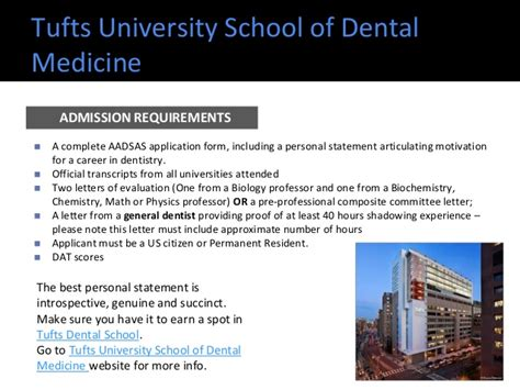 top dental schools admission requirements