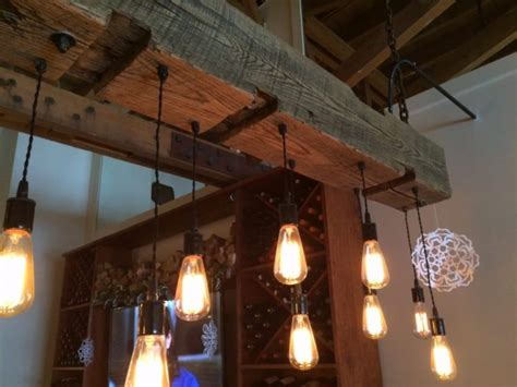 Rustic Wood Light Fixture With Reclaimed Beam • Id Lights