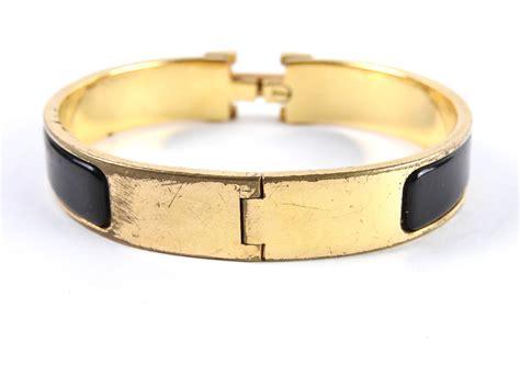 hermes bangle clic clac auth hermes clic clac pm h bangle bracelet enamel black gold plated a 4554 ebay