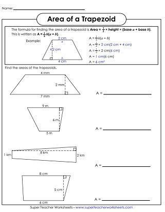 area of trapezoids printable math math