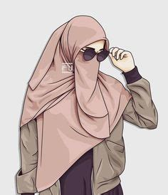gambar kartun muslimah bercadar pakaian syari akhwat hijrah   anime muslimah anime